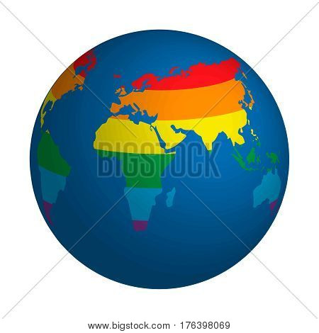 Globe symbol with lgbt rainbow colored world map. Icon of Earth isolated on white. Colorful rainbow earth globe icon hanging in light space World map painted in seven primary colors