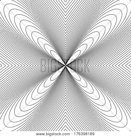 Radial Lines With Deformation Effect. Radiating Distorted Mesh, Grid