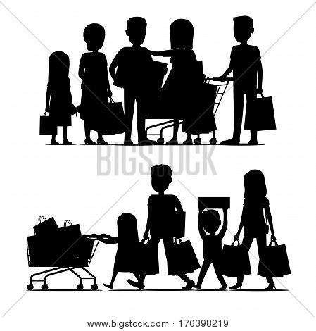Family making holiday purchases silhouettes set. Parents with kids walking and standing with bought goods in trolley and bags isolated vector. Customers illustration for shopping and sale concept