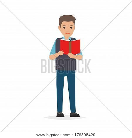 Young man reading textbook. Brown-haired male student standing with open book in hands flat vector isolated on white background. Enthusiastic reader illustration for educational and hobby concepts