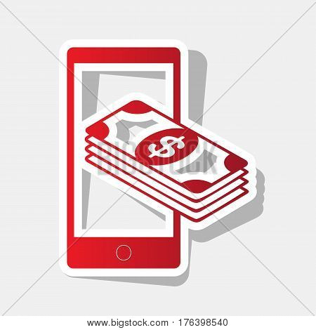 Payment, refill your mobile smart phone, . Vector. New year reddish icon with outside stroke and gray shadow on light gray background.