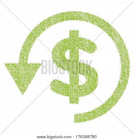 Chargeback vector textured icon for overlay watermark stamps. Fabric light green vectorized texture. Symbol with scratched design. Rubber seal stamp with fiber textile structure.