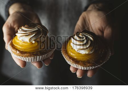 Lemon Pie In Woman Hands. Traditional French Sweet Pastry Tart. Delicious, Appetizing, Homemade Dess
