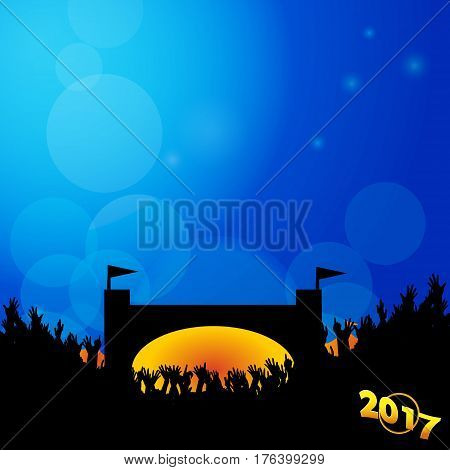 Music Festival Blue Background with Fiery Stage Silhouette Crowd and 2017 in Golden Number