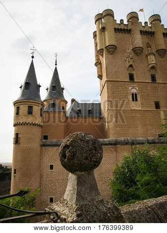 View on the famous medieval castle-ship Alcazar, Segovia, Spain
