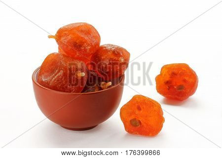 Dried kumquat close isolated on a white