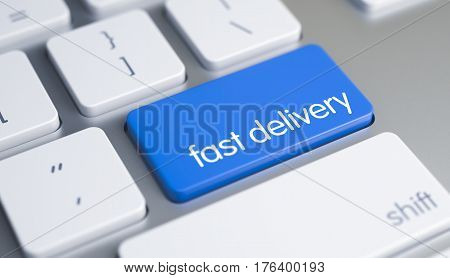 White Keyboard Keypad Showing the Inscription Fast Delivery. Message on Blue Keyboard Button. A Keyboard with a Blue Button - Fast Delivery. 3D Illustration.