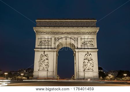 Triumphal Arch. Paris. France. View Of Place Charles De Gaulle. Famous Touristic Architecture Landma