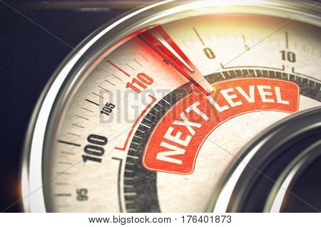 Next Level - Red Label on the Conceptual Manometer with Needle. Business or Marketing Mode Concept. 3D.
