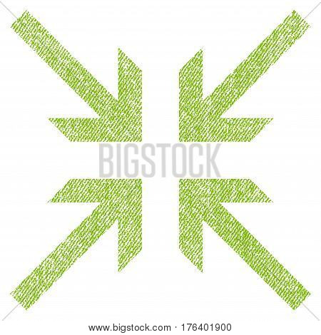 Collide Arrows vector textured icon for overlay watermark stamps. Fabric light green vectorized texture. Symbol with dirty design. Rubber seal stamp with fiber textile structure.