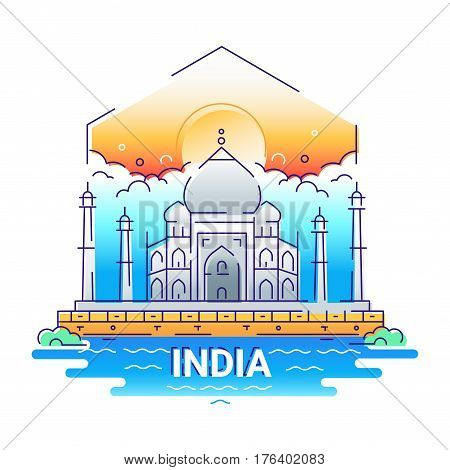 India - modern vector line travel illustration. Have a trip, enjoy your indian vacation. Be on a safe and exciting journey. Landmark image. An unusual composition with the Taj mahal, sun, cloud, temple, river, bush in the sky background