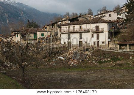 Accumoli village in Lazio destroyed by earthquake