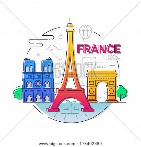 France - modern vector line travel illustration. Have a trip, enjoy your french vacation. Landmark image. An unusual composition with the Eiffel tower, notre dame, arc de triomphe, tree, city, cloud, ballon in the sky background