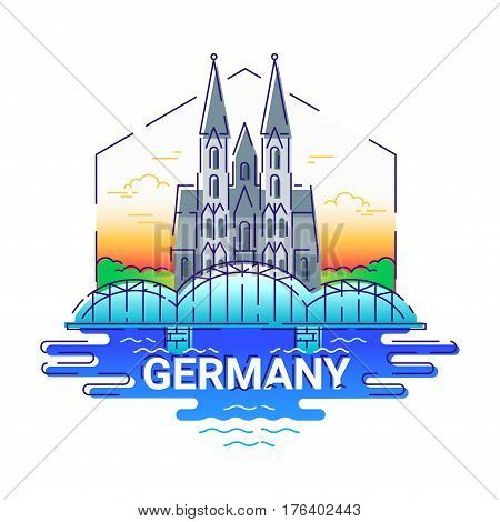 Germany - modern vector line travel illustration. Have a trip, enjoy your vacation. Be on a safe and exciting journey. Landmark image. An unusual composition with the Cologne cathedral, building, city, cloud, sun, tree, river, bridge in the sky background