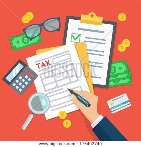 Tax payment. Man works with financial documents. Data analysis paperwork financial research report businessman calculation tax. Human hands hold tax form. Payment of debt. Top view Vector.