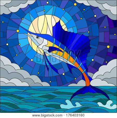 Illustration in stained glass style with a fish sailboat on the background of water cloud sky star and moon