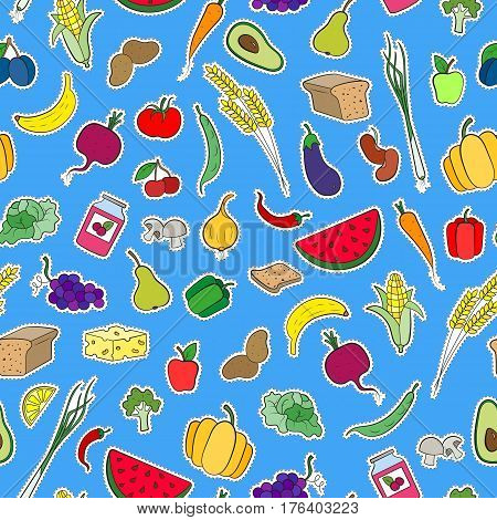 Seamless background on the topic of vegetarianism simple icons food signs patches on a blue background