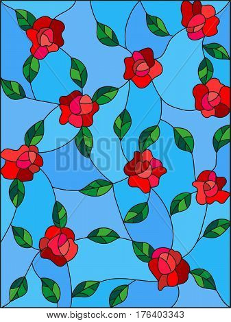 Illustration in the style of stained glass with intertwined roses and leaves on a blue background