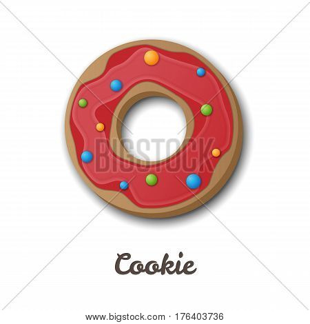 Cookie or donut vector illustration. Round-shaped homemade cookie with red glaze and colorful sugar bubbles. Isolated on white background.