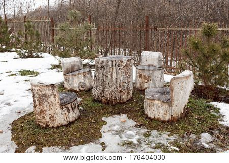 Self-made Wooden Furniture On The Street