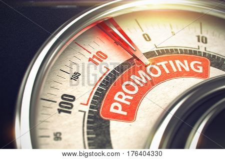 Promoting Rate Conceptual Gauge with Caption on the Red Label. Business Concept. Metal Speedmeter with Red Punchline Reach the Promoting. Illustration with Depth of Field Effect. 3D Illustration.