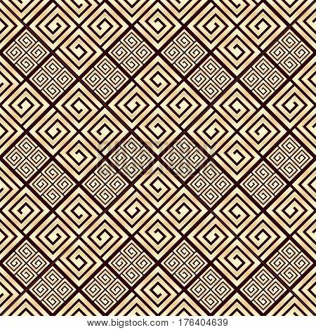 Seamless pattern meander ornament. Black and golden textile print. Greece vector design. Greek tiles.