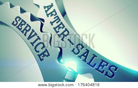 After-Sales Service - Interaction Concept. After-Sales Service Shiny Metal Cog Gears - Communication Concept. with Glow Effect and Lens Flare. 3D Render. poster