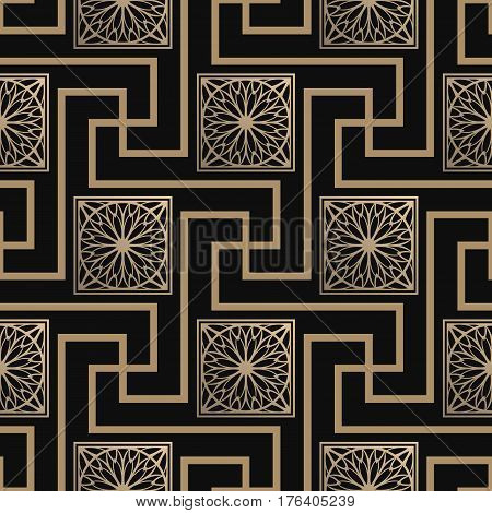 Seamless pattern with meander ornament and floral tiles. Black and golden textile print. Greece vector design. Luxury swatch.
