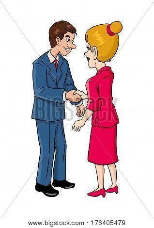 Cartoon illustration of businessman and businesswoman shaking hands