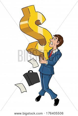 Cartoon illustration of a businessman holding a big dollar symbol