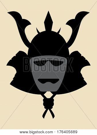 Simple symbol of a samurai armor helmet and mask