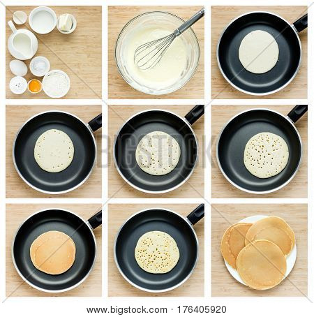 Cooking pancakes tutorial. Collage of steps preparation traditional pancake in a frying pan. Recipe step by step top view
