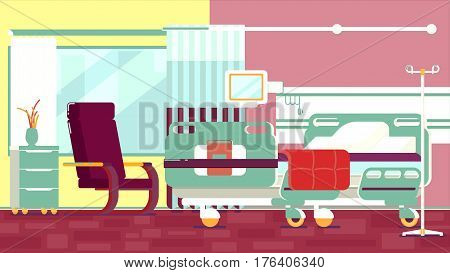 Hospital Room Illustration empty bed and chair