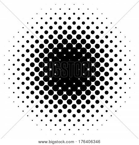 Circle Halftone Element. Monochrome Dotted Circular Pattern.