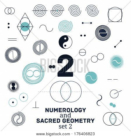 Sacred geometry and numerology symbols vector illustration. Set of number two. Design for meditation spiritual geometry
