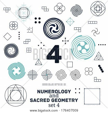 Sacred geometry and numerology symbols vector illustration. Set of number four. Design for meditation spiritual geometry