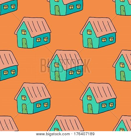 Sweet home pattern with lovely hand drawn houses. Cute vector colorful home pattern. Seamless cheerful home pattern for fabric, wallpapers, wrapping paper, cards and web backgrounds.