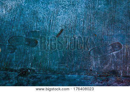 Background photography computer graphic abstrack texture and noise of The cement floor has rubber shoes prints pattern stamp turquoise color tone Record been here of art concept.