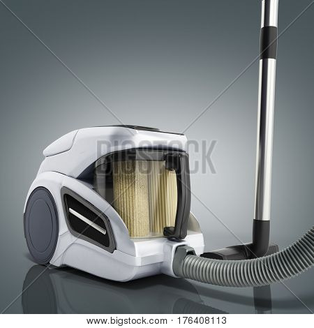 3D Render Of Vacuum Cleaner Isolated On Grey