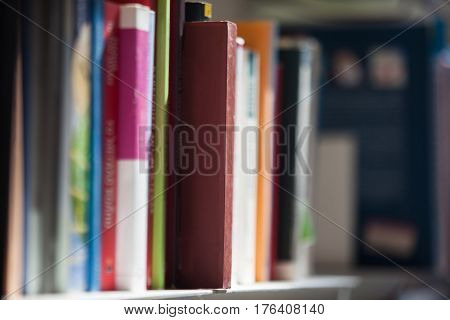 Several books in a library. Education concept.