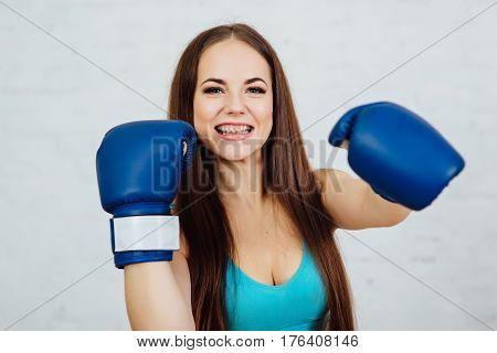 Beautiful Girl Boxer With Braces