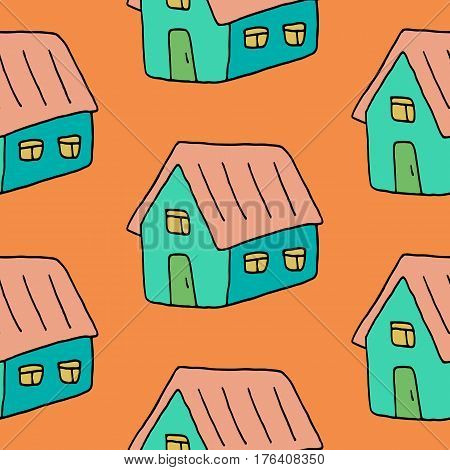 Sweet house pattern with lovely hand drawn houses. Cute vector colorful house pattern. Seamless cheerful house pattern for fabric, wallpapers, wrapping paper, cards and web backgrounds.