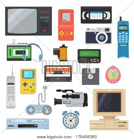 Icons of gadgets of the 90's in a flat style. Retro game console, camera, video cassette, player, vintage TV, pager and other electronics. A set of hipster gadgets.