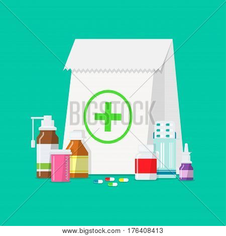 Medical tablets, bottles, pills in a flat style. Pharmaceutical package with different medicines. Buying tablets, pills, medical bottles and other drugs.
