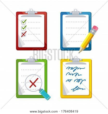 Checklist Dashboards Survey Icon Set Document for Questionnaire, Note, Exam or Research. Vector illustration