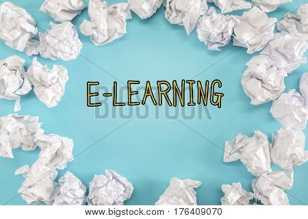 E-learning Text With Crumpled Paper Balls
