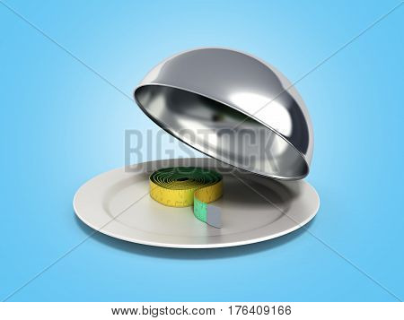 Concepts For A Healthy Food Measure Tape In Restaurant Cloche With Open Lid 3D Render On Blue
