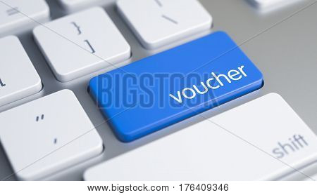Modern Computer Keyboard Button Showing the Inscription Voucher. Message on Blue Keyboard Button. Service Concept. Blue Keypad on Metallic Keyboard. 3D Illustration.
