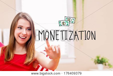 Monetization Concept With Young Woman