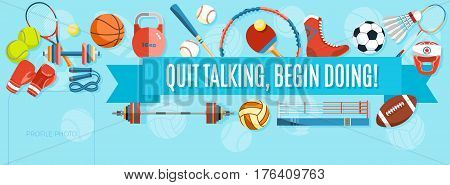 Set of sport balls and gaming items at a turquoise background. Healthy lifestyle tools, elements. Inscription QUIT TALKING, BEGIN DOING. Vector Illustration